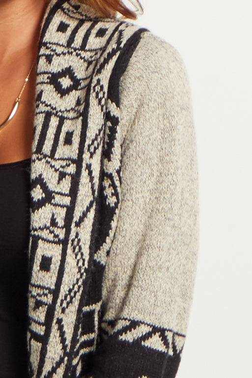 Black Aztec Dolman Oversized Knit Cardigan