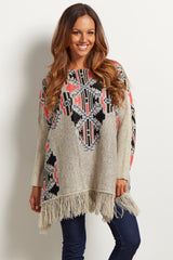 Beige Neon Tribal Fringed Oversized Knit Tunic