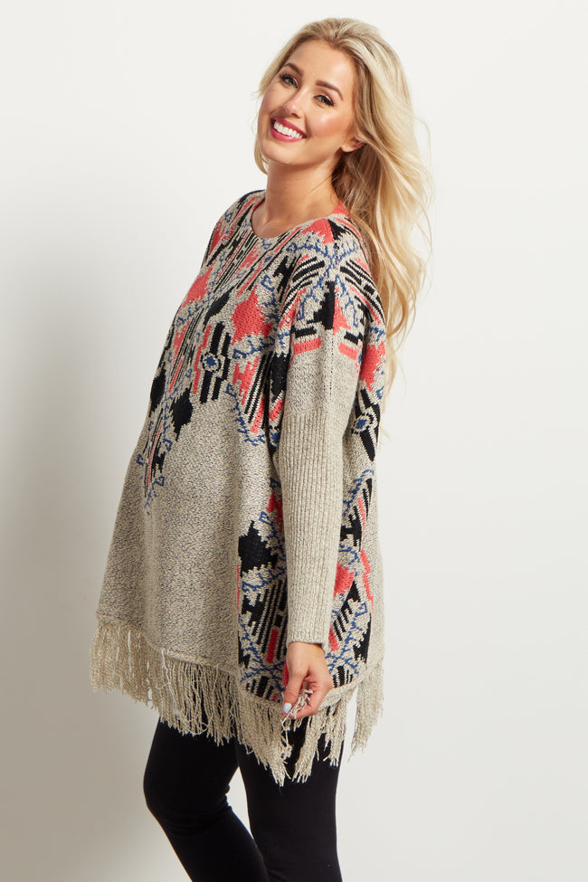 Beige Neon Tribal Fringed Oversized Maternity Sweater