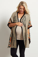 Beige Tribal Oversized Knit Maternity Poncho Cardigan