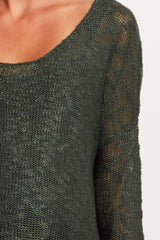 Forest Green Tassel Trim Knit Maternity Sweater