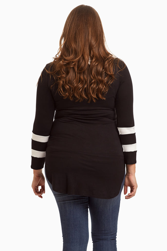 Black Striped Sleeve Plus Size Top