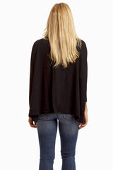 Black Cowl Neck Draped Open Back Top