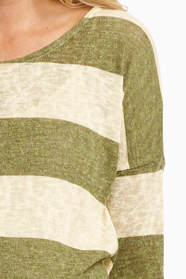 Olive Striped Suede Elbow Knit Maternity Top