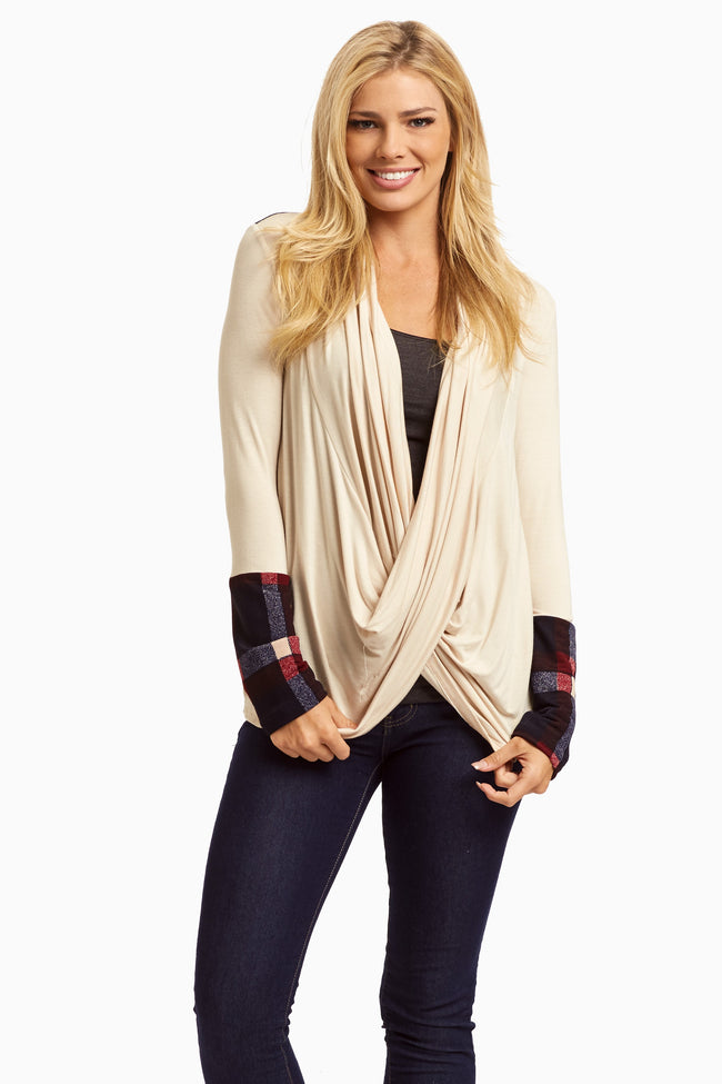 Navy Plaid Accent Draped Front Top