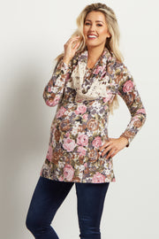 Pink Mocha Rose Floral Knit Maternity Top W/ Scarf