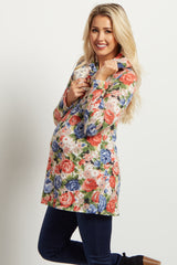 Red Blue Rose Floral Knit Maternity Top W/ Scarf