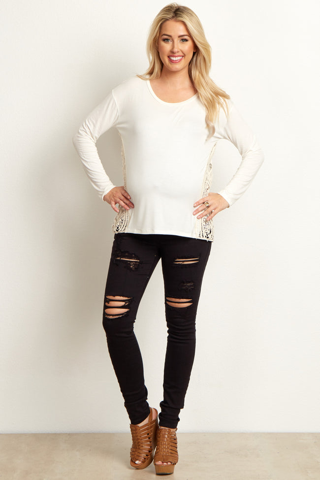 Black Distressed Maternity Skinny Jeans