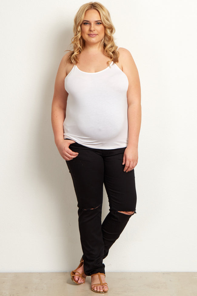 Black Distressed Plus Size Maternity Skinny Jeans