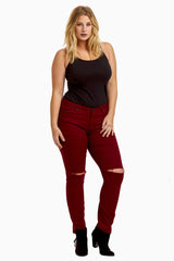 Burgundy Distressed Plus Size Skinny Jeans