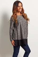 Grey Chiffon Accent Open Back Top