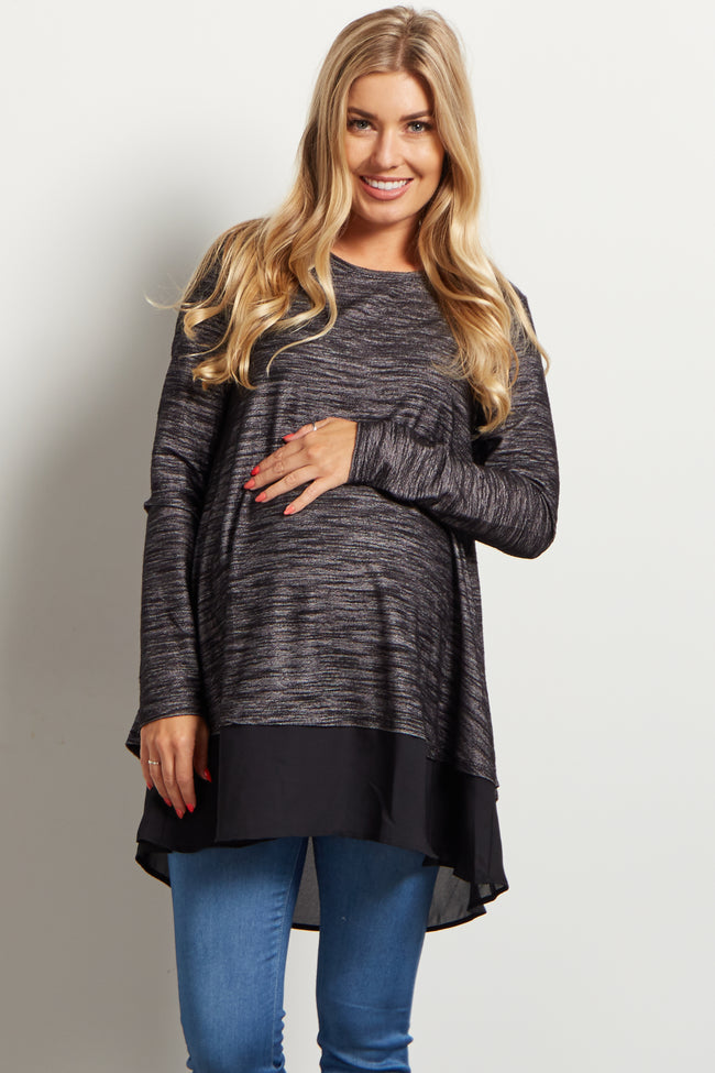 Black Chiffon Accent Open Back Maternity Top