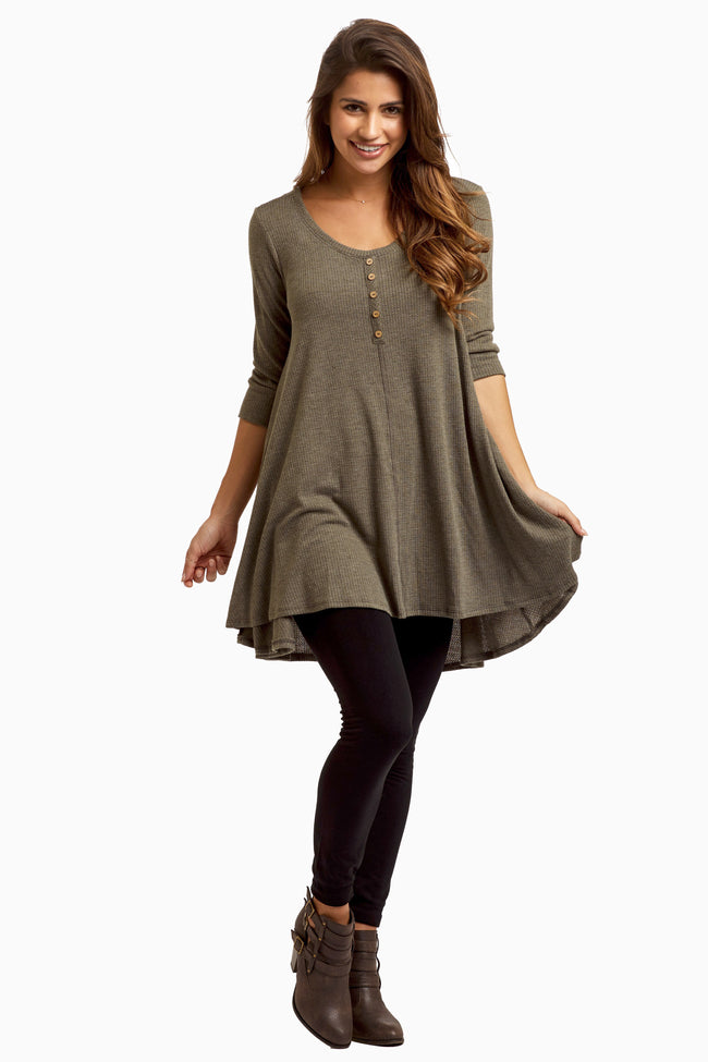 Olive Button Accent Thermal Maternity Top