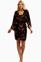 Black Red Rose Garden Delivery/Nursing Robe