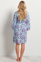 Mint Purple Floral Delivery/Nursing Robe