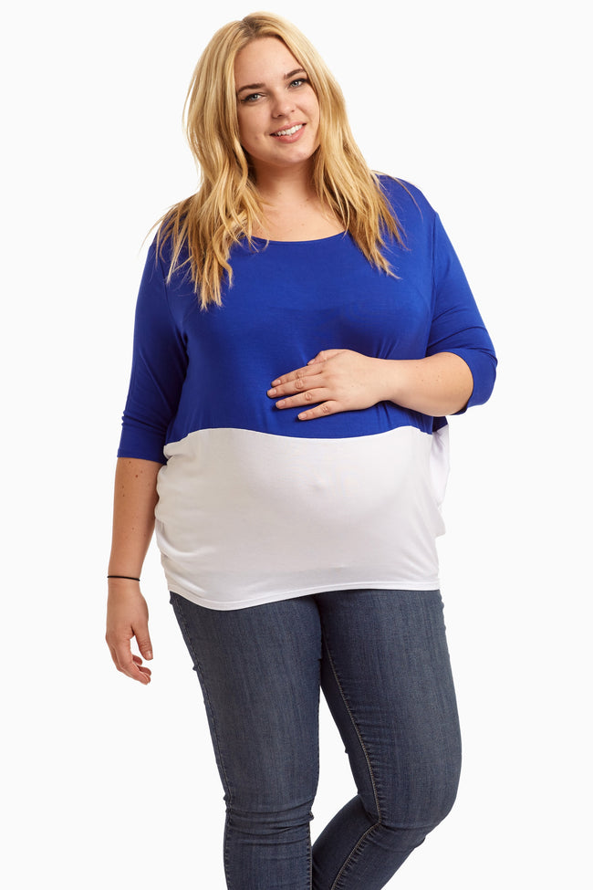Royal Blue White Colorblock 3/4 Sleeve Plus Size Maternity Top