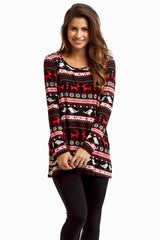 Black Red Reindeer Printed Top