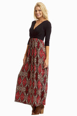 Black Red Printed Bottom 3/4 Sleeve Maxi Dress