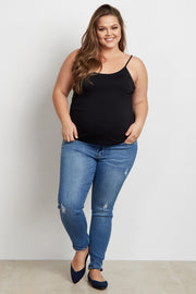 Medium Wash Distressed Plus Size Maternity Jeans