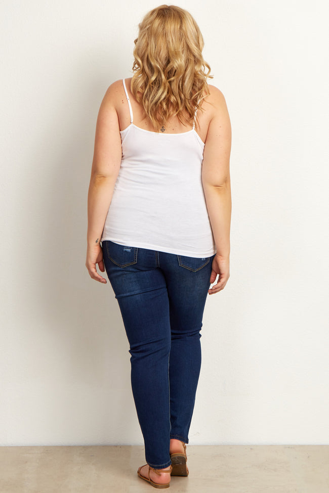 Dark Distresed Stretch Plus Size Maternity Skinny Jeans