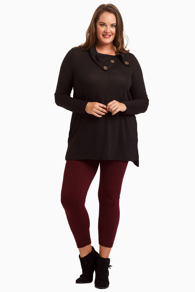 Black Button Collar Knit Plus Size Maternity Tunic