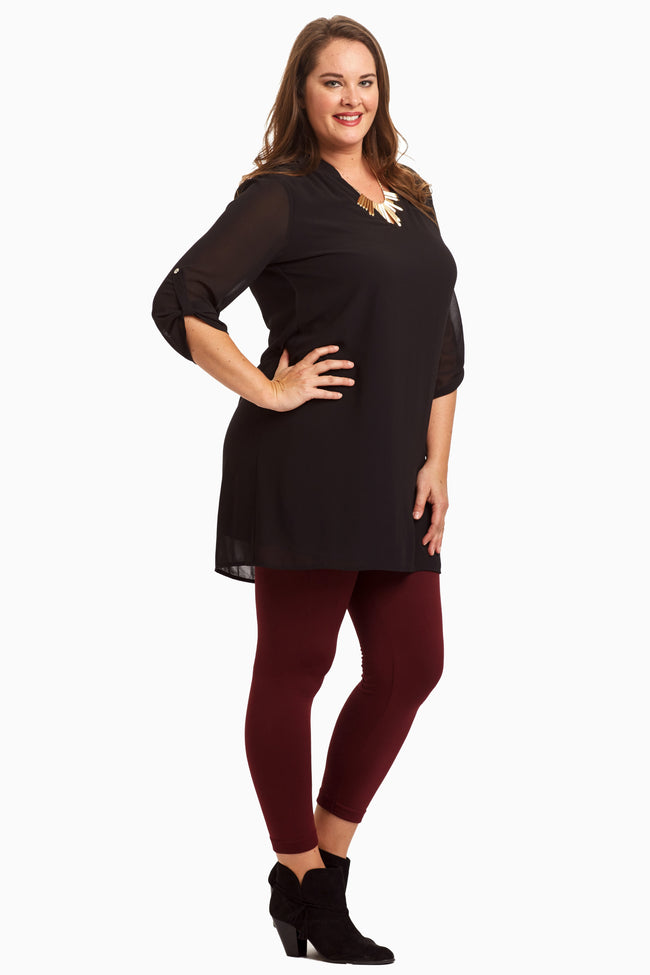 Black Chiffon 3/4 Sleeve Plus Size Tunic