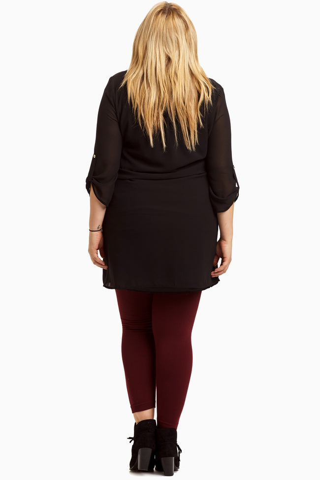 Black Chiffon 3/4 Sleeve Plus Size Maternity Tunic