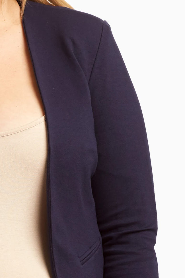 Navy Cropped Plus Size Maternity Blazer