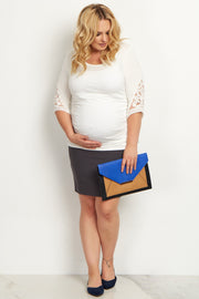 Charcoal Plus Size Maternity Pencil Skirt