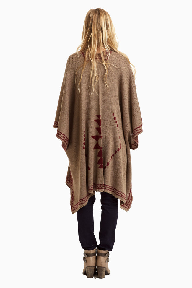 Mocha Burgundy Diamond Tribal Knit Open Maternity Poncho