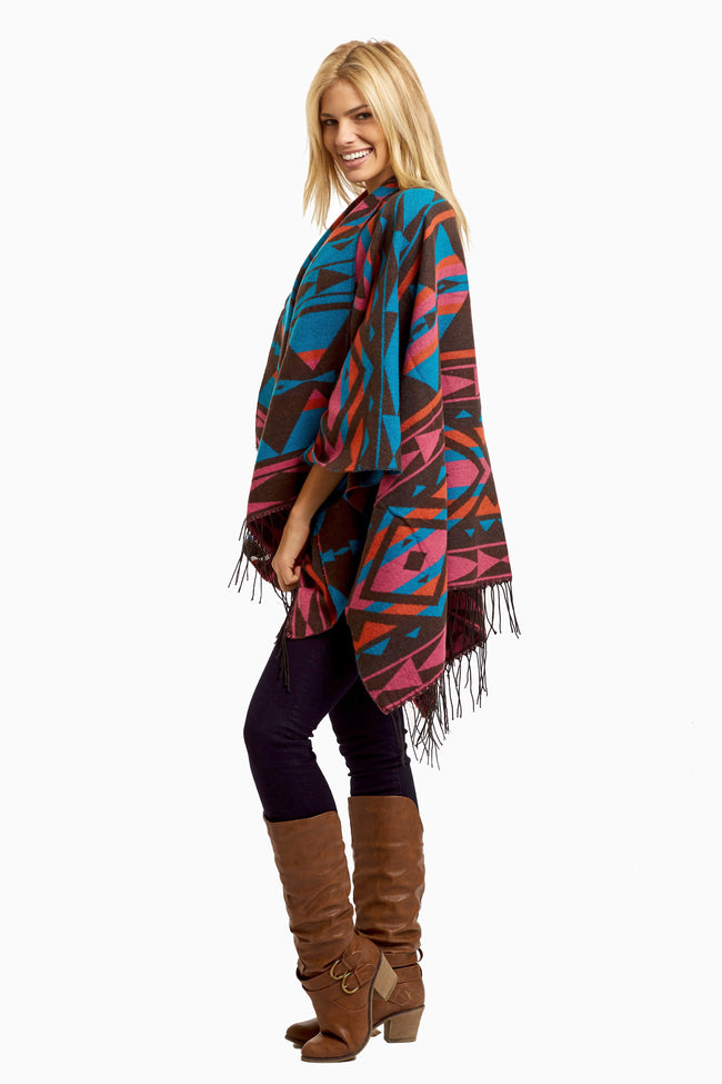 Multi-Color Tribal Knit Fringed Open Maternity Poncho