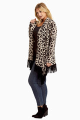 Taupe Cheetah Suede Fringe Trim Knit Plus Cardigan