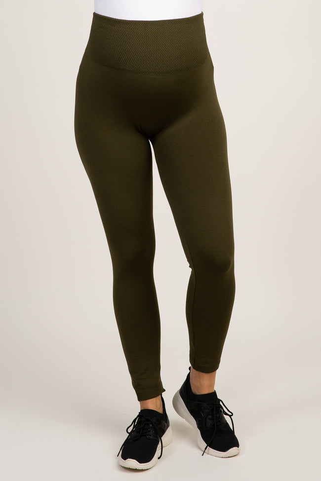 Light Olive Fleece Lined Maternity Leggings