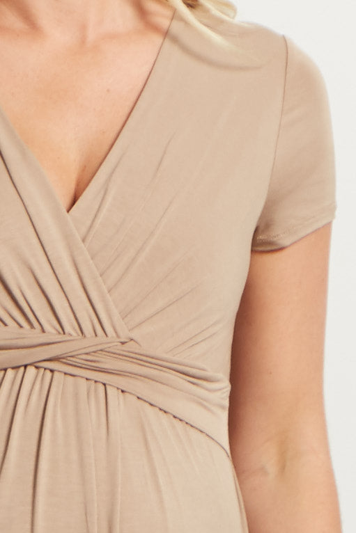 Mocha Draped Front Maternity/Nursing Dress
