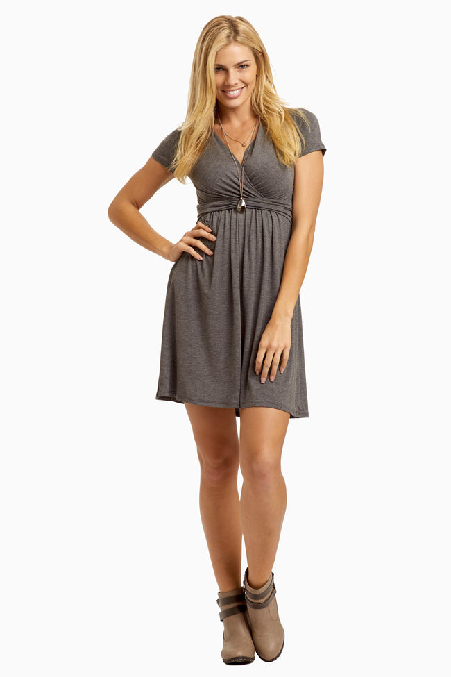 Charcoal Draped Front Maternity/Nursing Dress