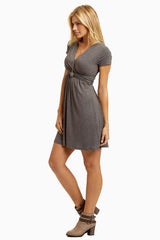 Charcoal Draped Front Nursing Dress