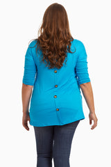 Teal Draped Pocket 3/4 Sleeve Plus Size Top