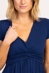 PinkBlush Navy Draped Front Nursing Dress
