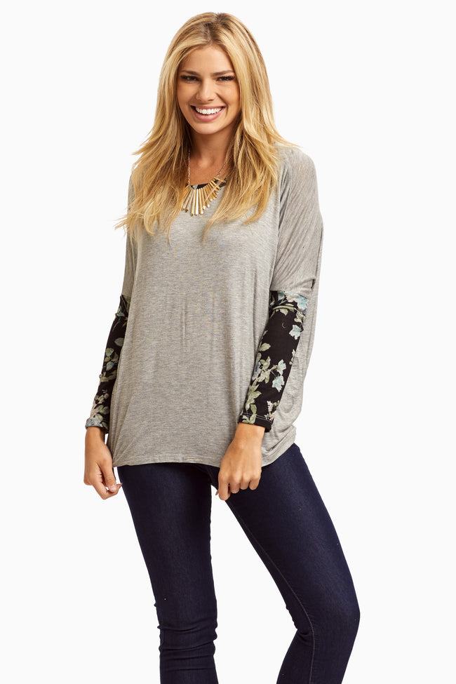 Grey Floral Knit Sleeve Maternity Top