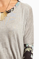 Grey Floral Knit Sleeve Top