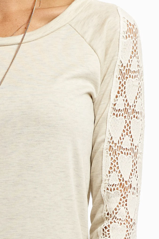 Oatmeal Open Knit Heart Sleeve Top