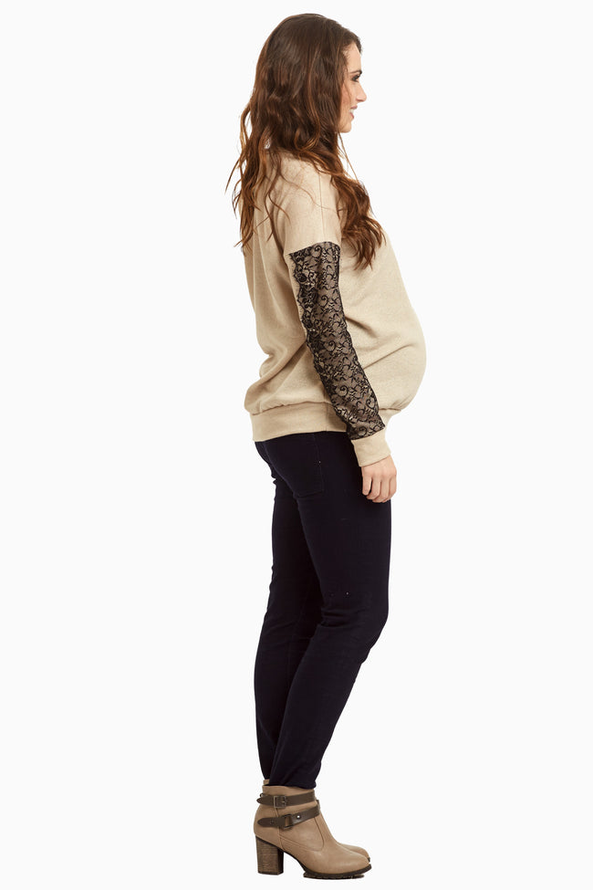 Beige Lace Sleeve Knit Sweater Top