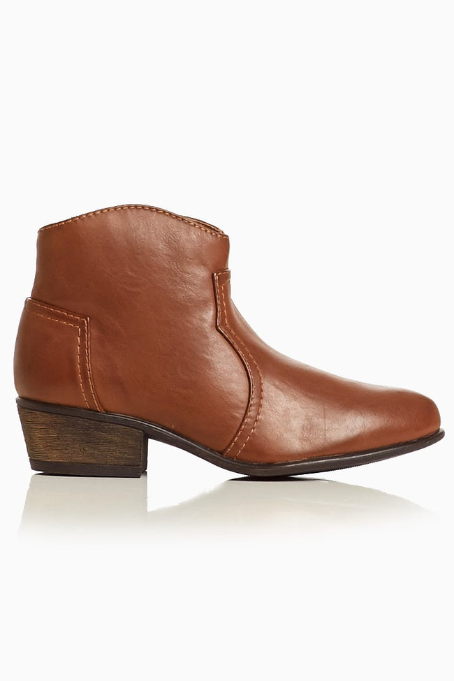 Brown Faux Leather Western Bootie