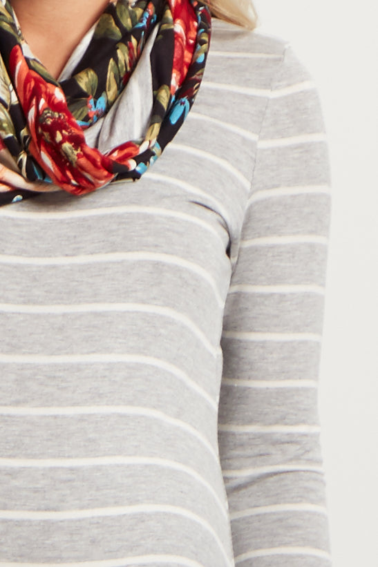 Grey Striped Floral Accent Maternity Top W/ Scarf