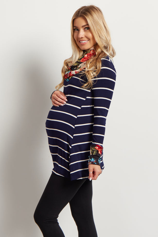 Navy Striped Floral Accent Maternity Top W/ Scarf