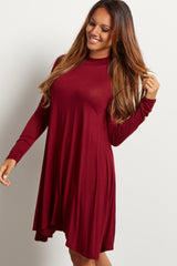 Burgundy Mock Neck Swing Dress