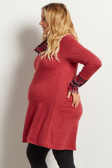 Burgundy Plaid Accent Cowl Neck Plus Maternity Tunic