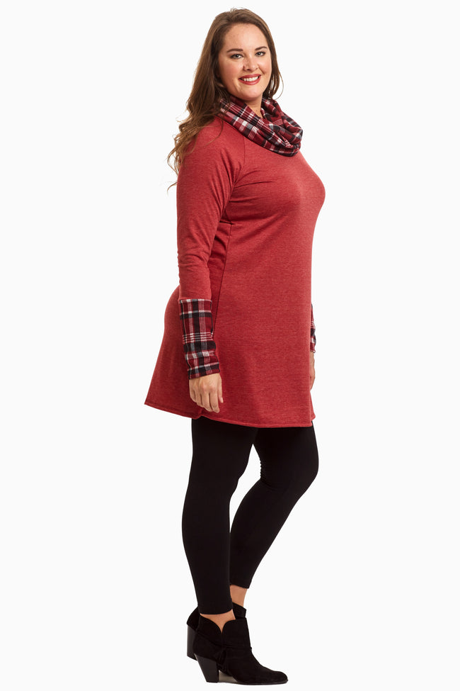 Burgundy Plaid Accent Cowl Neck Plus Tunic