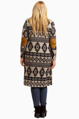 Black Tribal Suede Elbow Long Plus Size Maternity Cardigan