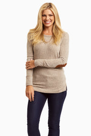 Taupe Button Back Quilted Elbow Knit Top